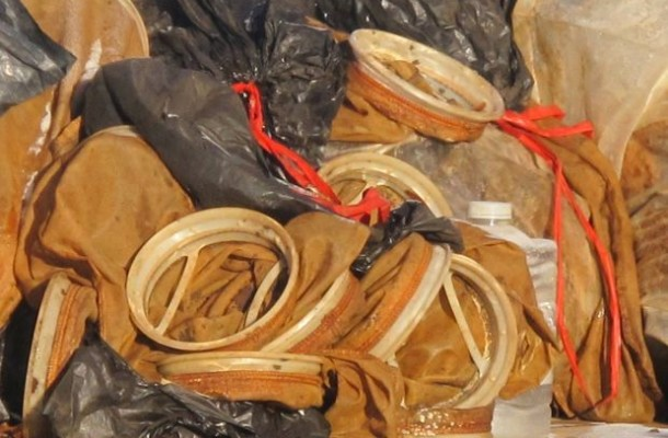 Radioactive filter socks found in the Bakken oil field.